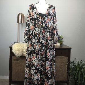 Torrid long sleeve button front floral maxi dress
